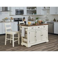 OSP Home Furnishings Kitchen Island with Granite Inlay Top and Two Matching Stools - N/A