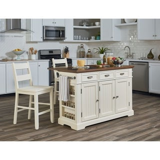 OSP Home Furnishings Kitchen Island with Granite Inlay Top and Two Matching Stools