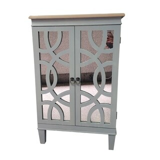 "35.5""H Grey Wood Two Doors Cabinet"