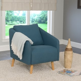 Dolsey Woven Fabric Accent Chair with Flared Wooden Legs