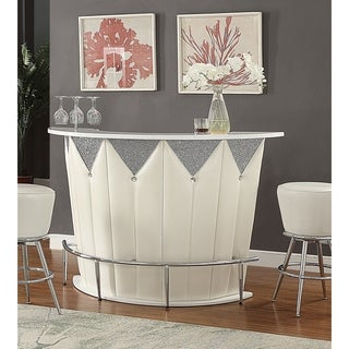 Acme Sphaerio Bar Table In Ivory Leatherette And High Gloss White