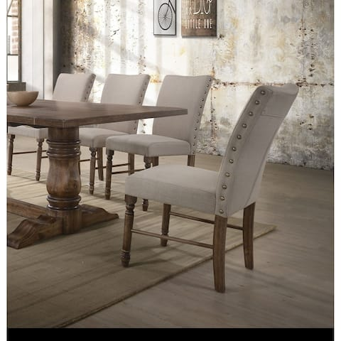 Acme Leventis Cream Fabric Side Chair in Weathered Oak, Set of 2