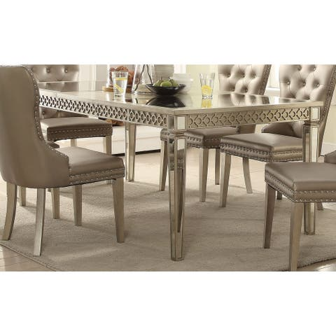 Acme Kacela Glam Mirrored Dining Table in Champagne