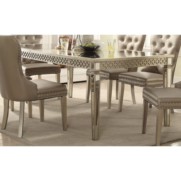Acme Kacela Glam Mirrored Dining Table In Champagne by Acme