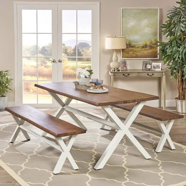 Annora Farmhouse Cottage 3 Piece Faux Live Edge Wood Picnic Dining Set By Christopher Knight Home Overstock 20850933