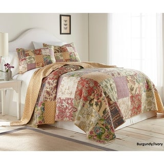 French Impression India Special-Dyed Pre-Washed Cotton 3pc Hand Patched Reversible Quilt Set