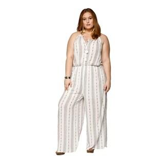 Xehar Womens Plus Size Sexy Sleeveless Halter Tassel Tie Jumpsuit