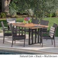 Lima Outdoor Wicker Light Weight Concrete Dining Set by Christopher Knight Home