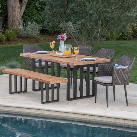 Micah Outdoor Wicker Light Weight Concrete Dining Set with Cushions by Christopher Knight Home