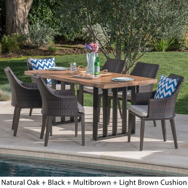 Cruella Outdoor Wicker Light Weight Concrete Dining Set with Cushions by Christopher Knight Home