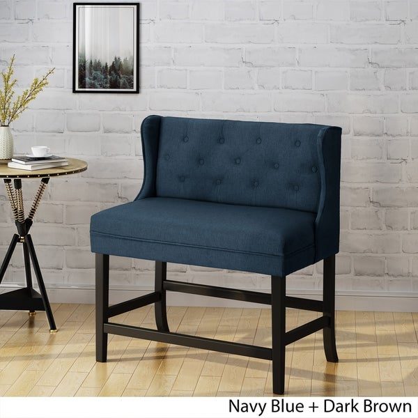 Shop Paulina Winged 2 Seater Tufted Fabric Barstool By