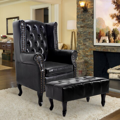 Black Leather Tufted Accent Chair and Ottoman Club Chair Couch
