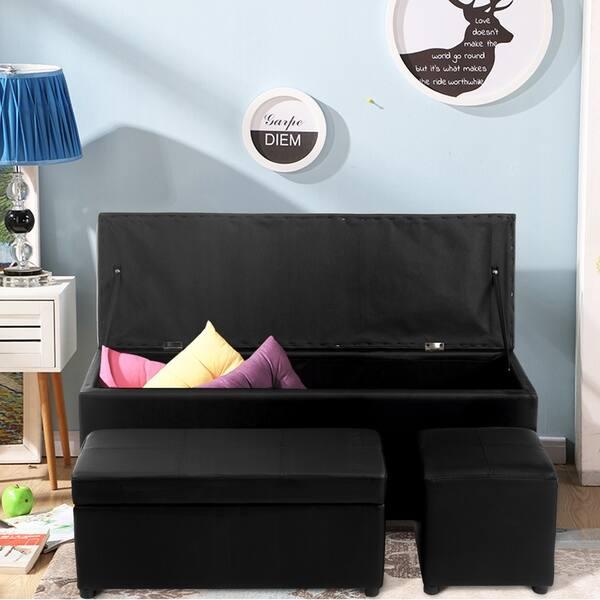 Shop Storage Ottoman Faux Leather Sofa Bench Seat Chest Toy Box