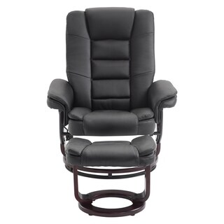 PU Leather Recliner Chair and Ottoman Swivel Leisure Lounge Living Room Furniture Set, Black