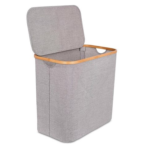 BirdRock Home Bamboo & Canvas Hamper Single Laundry Basket with Lid Foldable Hamper Cut Out Handles