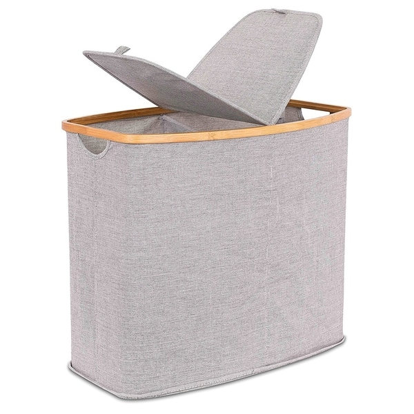 BirdRock Home Bamboo & Canvas Hamper | Double Laundry Basket with Lid | Divided Foldable Hamper | Cut Out Handles