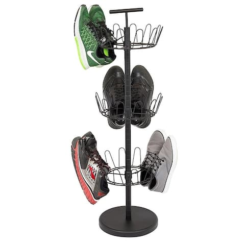 Internet's Best 3 Tier Metal Shoe Tree Black Finish 18-Pair Shoe Organization Free Standing Tower Weighted Base