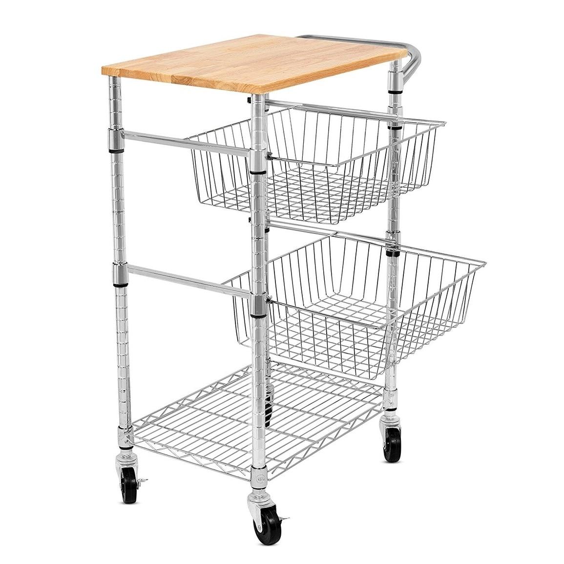 Internet\'s Best 3-Tier Kitchen Cart with Wire Baskets | Kitchen Island  Trolley with Locking Wheels | 2 Sliding Wire Baskets