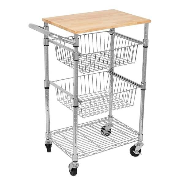 Shop Internet\'s Best 3-Tier Kitchen Cart with Wire Baskets ...