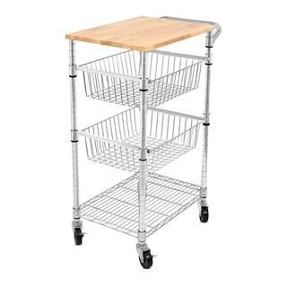 Internet's Best 3-Tier Kitchen Cart with Wire Baskets | Kitchen Island Trolley with Locking Wheels | 2 Sliding Wire Baskets