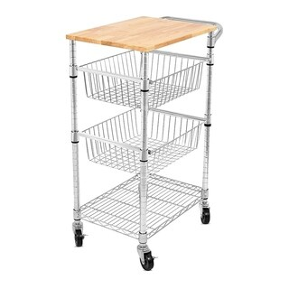 Internet's Best 3-Tier Kitchen Cart with Wire Baskets Kitchen Island Trolley with Locking Wheels 2 Sliding Wire Baskets