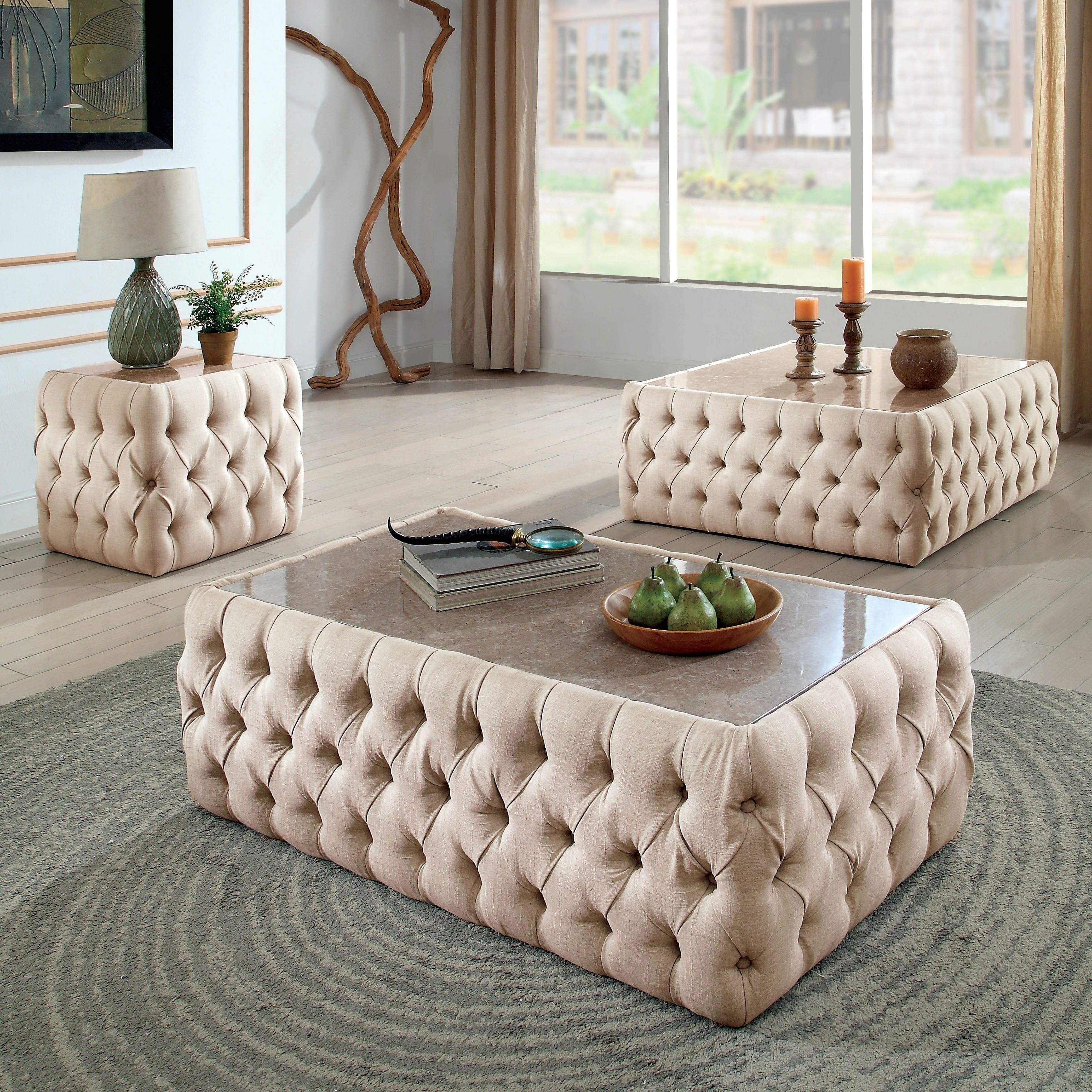 Furniture Of America Elis Transitional Beige Fabric Coffee Table