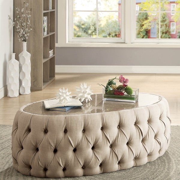 Shop Furniture Of America Elise Faux Marble Button Tufted