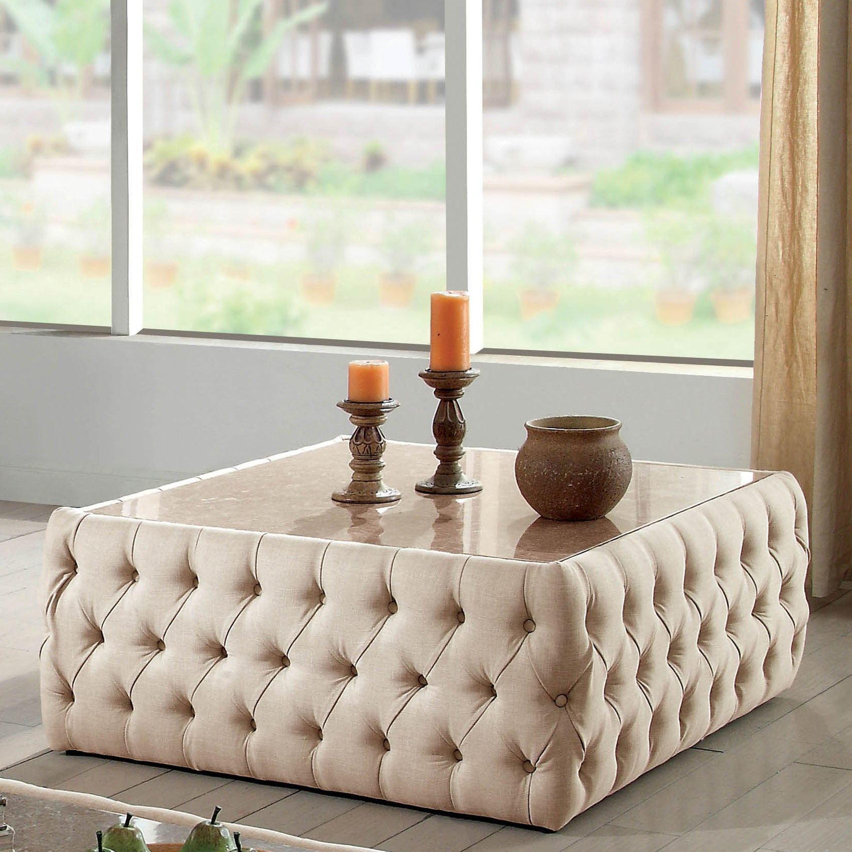 Furniture Of America Elis Transitional Beige Linen Square Coffee Table