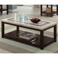 Furniture of America Calgary Genuine Marble Coffee Table