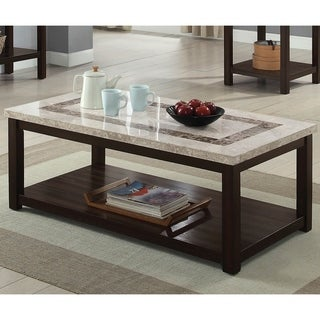Furniture of America Calgary Genuine Marble Coffee Table