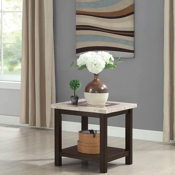 Calgary Transitional Dark Walnut Genuine Marble End Table By Foa On Free Shipping Today 20853036