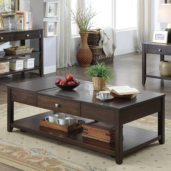 Furniture of America Zoke Modern Espresso Solid Wood Coffee Table