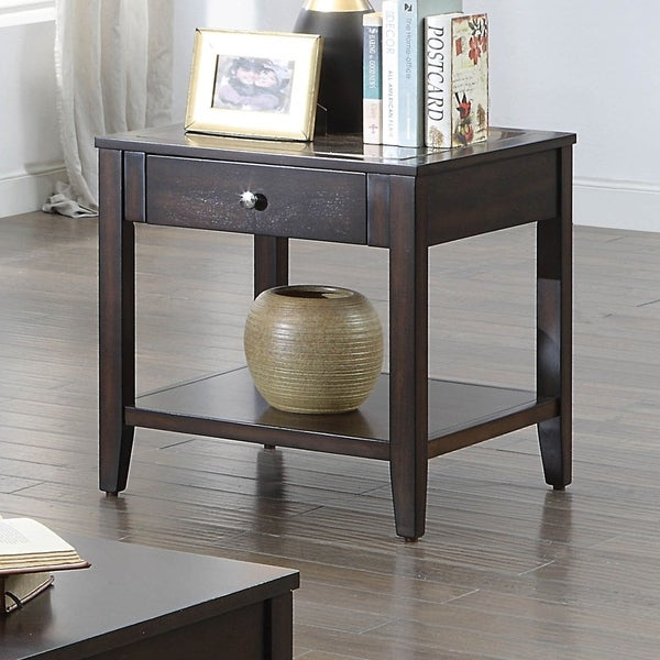 Furniture of America Zoke Contemporary Brown Solid Wood End Table