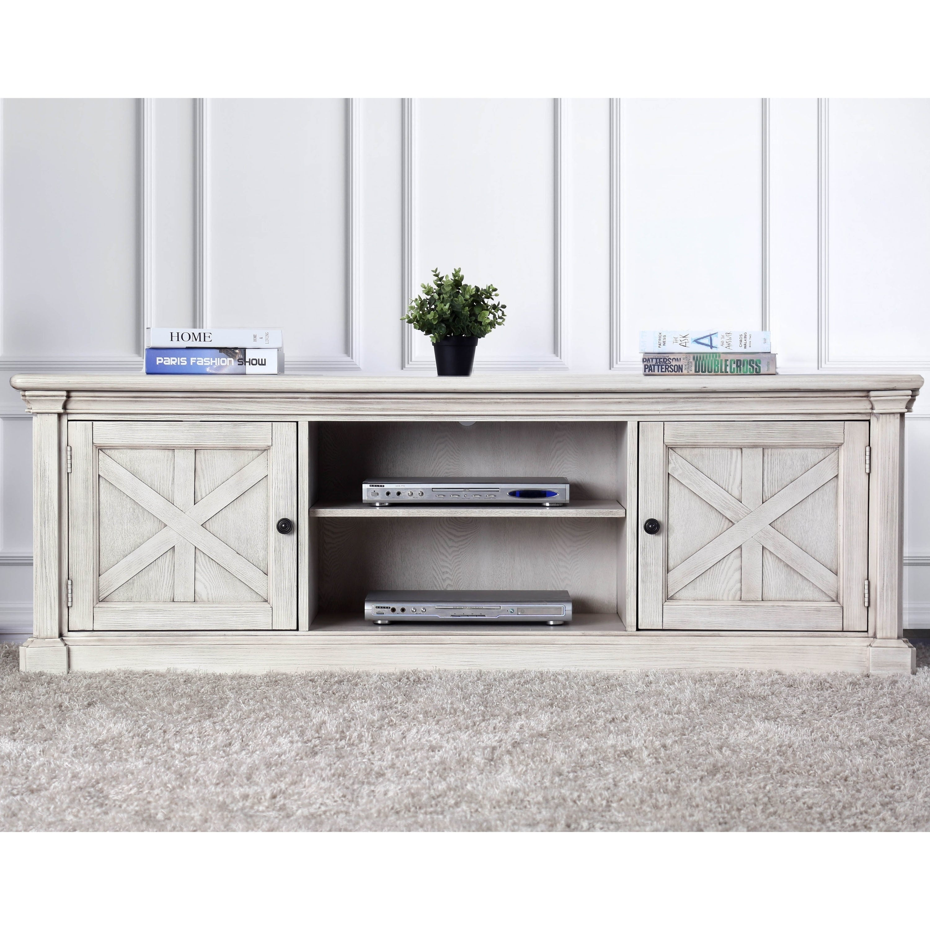 Furniture Of America Lyle Rustic White Solid Wood 2 Cabinet Tv Stand