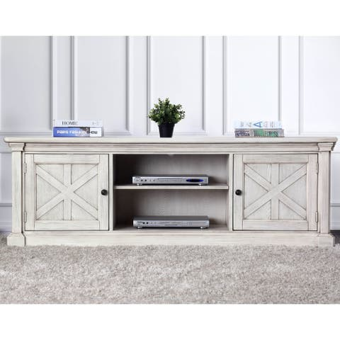 Furniture of America Lyle Rustic White Solid Wood 2-cabinet TV Stand