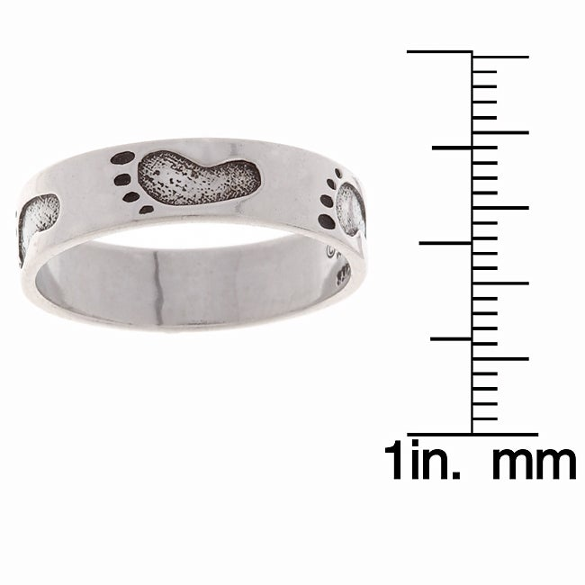 Jewelry Trends Sterling Silver Footprint Ring
