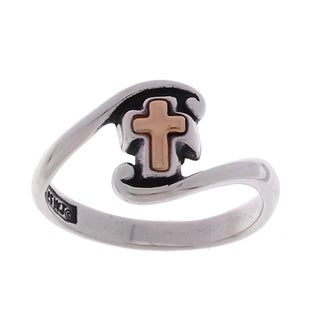Carolina Glamour Collection 14-kt Yellow Gold Cross and Sterling Silver Ring
