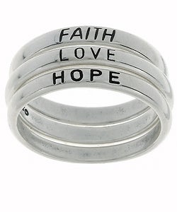 Carolina Glamour Collection Sterling Silver Faith/ Love/ Hope Stackable Ring Set