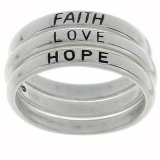 Carolina Glamour Collection Sterling Silver Faith/ Love/ Hope Stackable Ring Set (Option: 5)