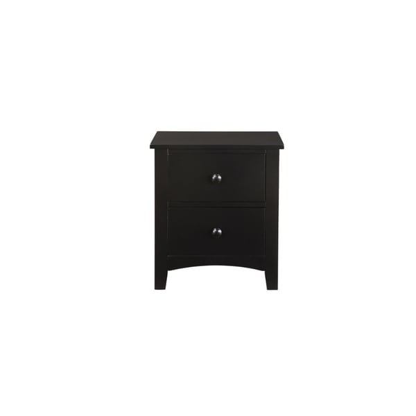Pine Wood Night Stand With 2 Drawers, Black