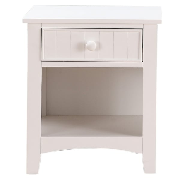 Wooden Night Stand With Bottom Open Shelf, White