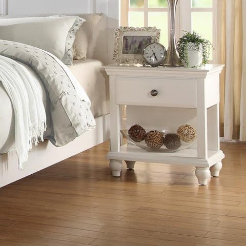 Poplar Wood Night Stand with Spacious Storage, White