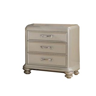 Poplar Wood Nightstand with Three Drawers and Turned Legs, Silver