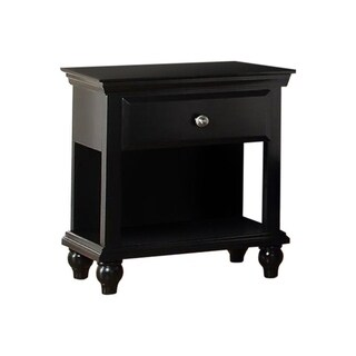 Link to Poplar Wood Night Stand with Drawer, Black Similar Items in Bedroom Furniture