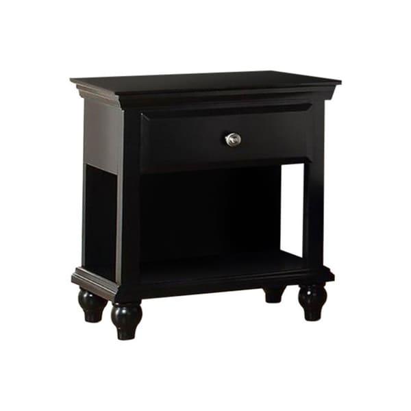 Poplar Wood Night Stand With Drawer, Black