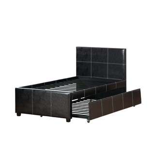 Mesmeric Twin Bed With Trundle Espresso Faux Leather,Brown