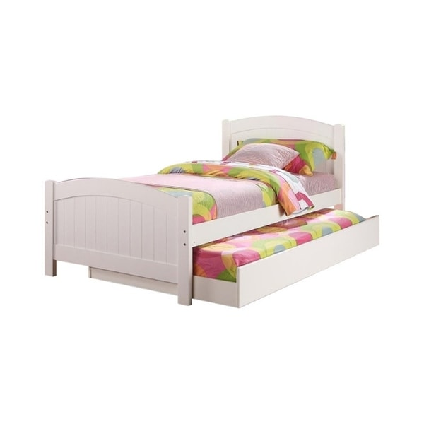 Stylish Twin Bed With Trundle,White