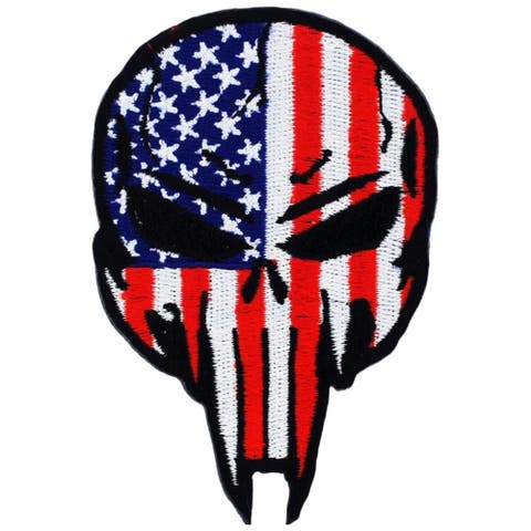 Skull USA Flag Patriotic Military Patch