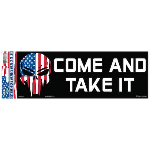 Demon Skull Patriotic Come and Take It Bumper Sticker