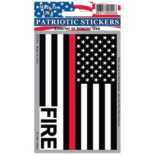 Fire Department Red Line Honor Flag Patriotic Car Decal